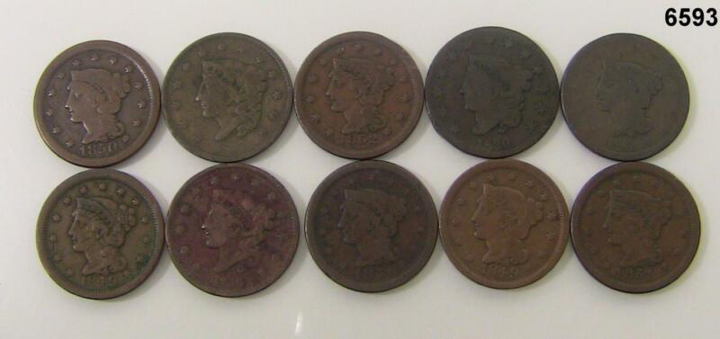 LARGE CENT LOT OF 10 COINS G-F 1830