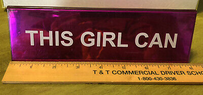 Desk Sign - 8 Long Pink This Girl Can Office Decor Metallic Logo - Nameplate