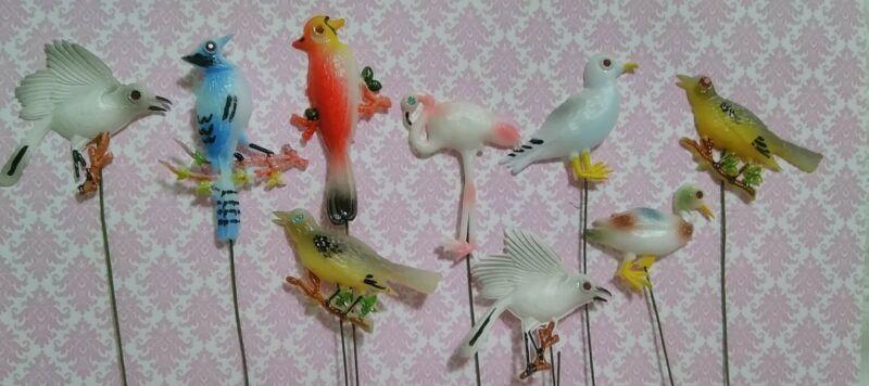 9 Vintage Miniature Bird Picks Floral Plastic Flatback JAPAN Handpainted 🐦