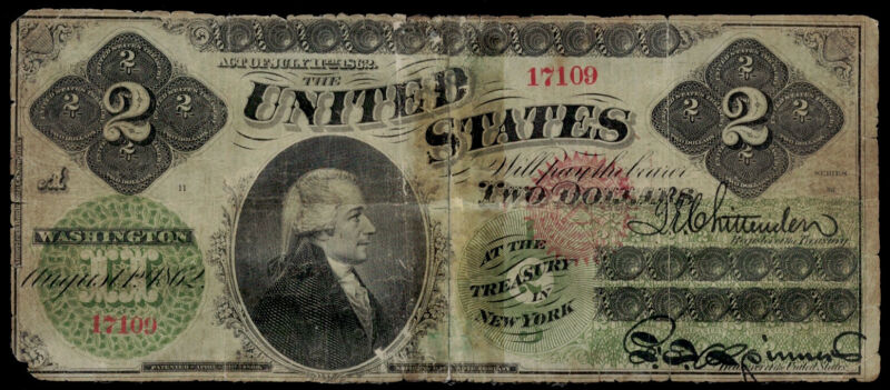 SC FR. 41 1862 $2 Two Dollars Legal Tender United States STRONG DESIGN ELEMENTS!