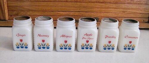 Vintage Set of 6 Depression Era Milk Glass Tulip Theme Spice Jars with NO LIDS