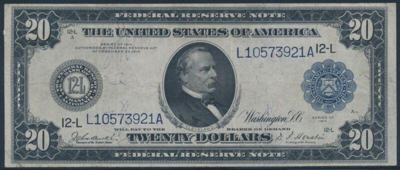 Fr1010 $20 1914 Frn Blue Seal San Francisco Xf Br5977