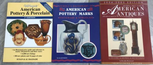 Lot 3 American Pottery Marks Porcelain Antiques Price Guides Books Pictorial