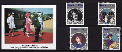 Samoa - 1985 Queen Mothers 85th Birthday - U/M - SG 700-703 + MS704