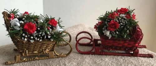 Wicker Holiday Christmas Sleighs - Red & Gold - With Flowers - Lot Of 2 Sleighs