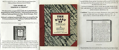 1885 DIARY OF THOMAS A. EDISON  LIGHT BULB INVENTOR BOOK WEST ORANGE NJ 1970 VF!