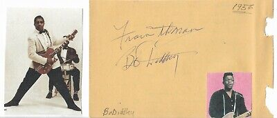 BO DIDDLEY...VINTAGE IN PERSON HAND SIGNED ALBUM PAGE WITH IMAGE...SCARCE