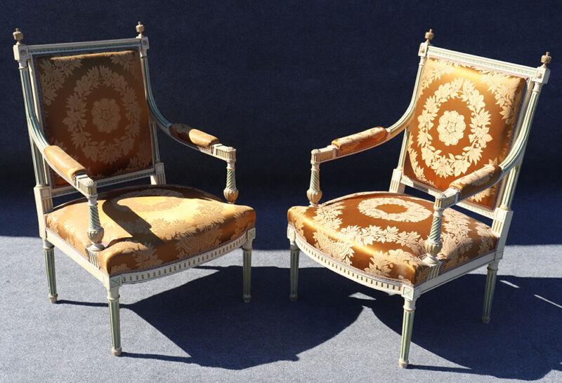 Signed Pair Maison Jansen Paint Decorated Silk Damask Armchairs Fauteuil C1890s
