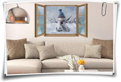 Wand-Tattoo Wand-Bild Fenster Schneemann Lustig Mütze Schal Winter Aufkleber