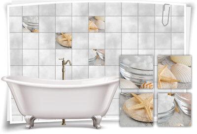Muschel-salz (Fliesenaufkleber Fliesenbild Muschel Salz Wellness SPA Aufkleber Fliesen Bad WC)