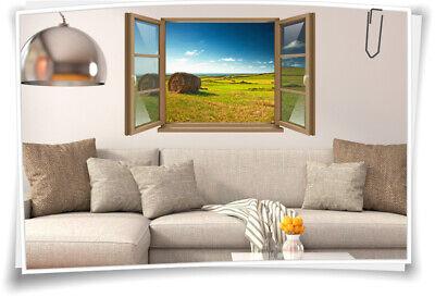 Wand-Tattoo Wand-Bild Fenster Natur Landschaft Heu-ballen Wiese Feld Aufkleber