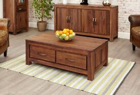 Solid Walnut Dark Wood Coffee Table with Drawers NEW