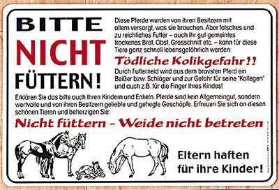 Schild 30 x 20 cm Pferde Bitte nicht fuettern... 308626