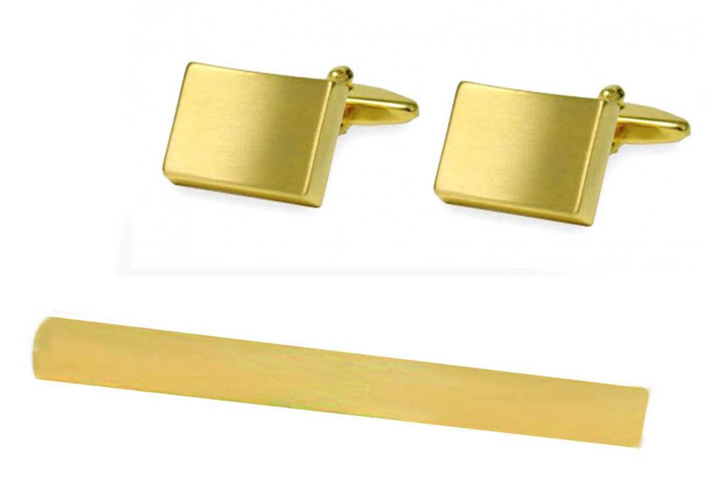 SET Manschettenknopf + Krawattenhalter vergoldet matt  KLS019 + Krokosetbox