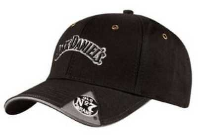 Jack Daniels Men's Baseball Cap 6 Panel Chino Twill - Black JD77-42 Cotton Chino Twill Cap