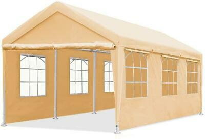 Quictent Beige Heavy Duty Carport 10'x20' Outdoor Car Shelter Garage Shed Canopy