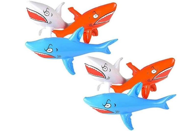 """Patriot Red White and Blue 24"""" Shark Inflates - 6 Pack - Pool Beach Float Decor"""
