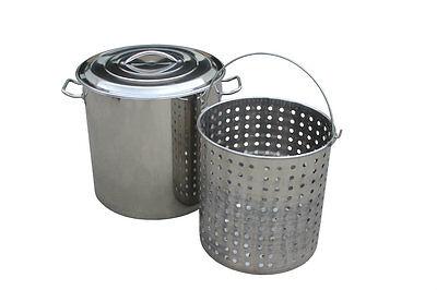 NEW 80 QT Quart Stainless Steel Stock Pot w/ Steamer Basket 20 Gallon Cookware