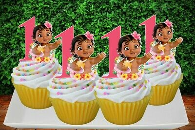 Moana Baby with Number Cupcake Topper