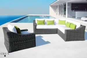 Cieux Marseille Canvas Natural Corner Sectional Sofa! Outdoor Patio Furniture Clearance in Canada!