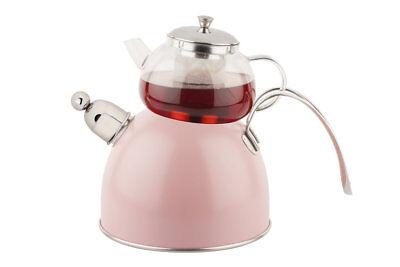 anne Wasserkanne Pfeifend Induktion mit Glaskanne TantiToni (Rosa Teekanne)