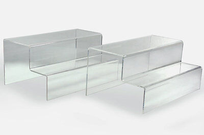 4x Clear Acrylic 2-step Level Display Riser Stand Jewelry Plinth 10 L X 6.3 W
