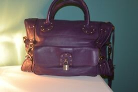 Luella medium - large purple leather shoulder bag with several pockets great condition