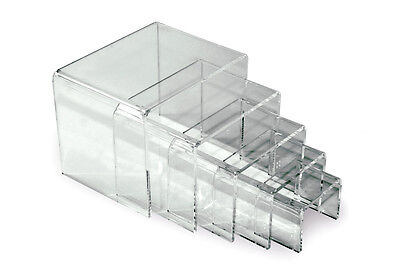 Hi-glossy Clear Acrylic Jewelry Display Riser Stand Set Of 5 - 2 To 4 W