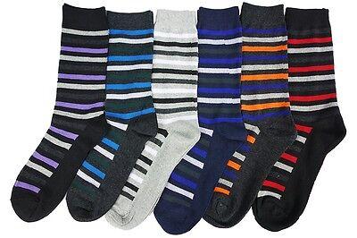 6 Pairs Men Dress Socks Thin Stripe Long Crew Pack [US10-13]
