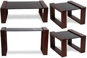 4-PIECE COFFEE TABLE, TWO END TABLES AND CONSOLE SET