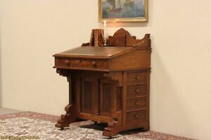 Eastlake-1885-Antique-Ship-Captain-or-Davenport-Desk