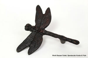 Set-of-2-Dragonfly-drawer-and-cabinet-knob-pull-dark-Bronze-finish-rustic