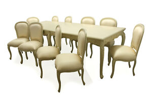 French-Ivory-10-seater-Family-Dining-room-Table-Chair-Set-Designer-interiors
