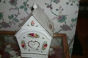 Large Old Country Rose Royal Albert Cookie Jar Bird House