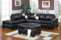 Leather Sectional Sofa with Chaise! 4 Colours! Free Delivery!