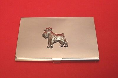 Miniature Schnauzer Dog Pewter Motif Chrome Plated Card Holder Useful Xmas Gift