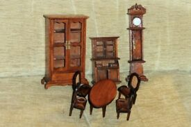 Dark Wood Dolls House Furniture,Table,Chairs,Cabinets & Grandfather Clock ( 7.5 inches high ),Histon