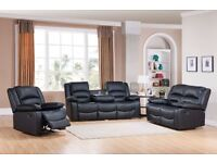 ***ROMA FREE DELIVERY BRAND NEW LEATHER RECLINER SOFAS***