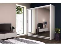 cheapest price offered! wow BRAND NEW Chicago 2 Door Sliding Wardrobe in Black White And Walnut