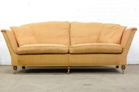 SUPERB DURESTA RUSKIN LARGE 3 SEATER SOFA IN GOLD RED STRIPES FREE UK DELIVERY