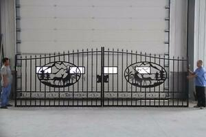 NEW 20 FT DEER DRIVEWAY WROUGHT IRON SWINGING BI PARTING FENCE GATE LUXURY