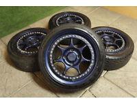 "Genuine Enkei RS 2pc Split rim 16"" Alloy wheels & Tyres 4x114.3 JDM Ae86 Prelude S13 Integra MB6"