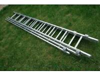 Young man 3 tier extension ladder