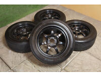 "Genuine Calibre Pro 7 15"" Alloy wheels & Tyres 4x100 Civic Clio Corsa MX5 Golf Yaris Micra Black"
