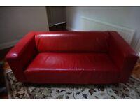 Red Leather Ikea Sofa £50