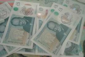 Notes five pounds new notes