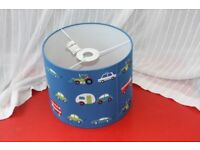 Boys Kids Blue Lampshade - Transport