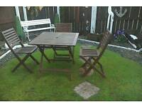 Garden wooden table and 3 chairs