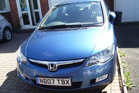 2007 HONDA CIVIC ES IMA HYBRID BLUE 37,000 MILES 2 KEYS £10 ROAD TAX FSH