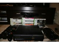 xbox 360 s 250 GB with 31 games included + kinect + 3 wireless controllers